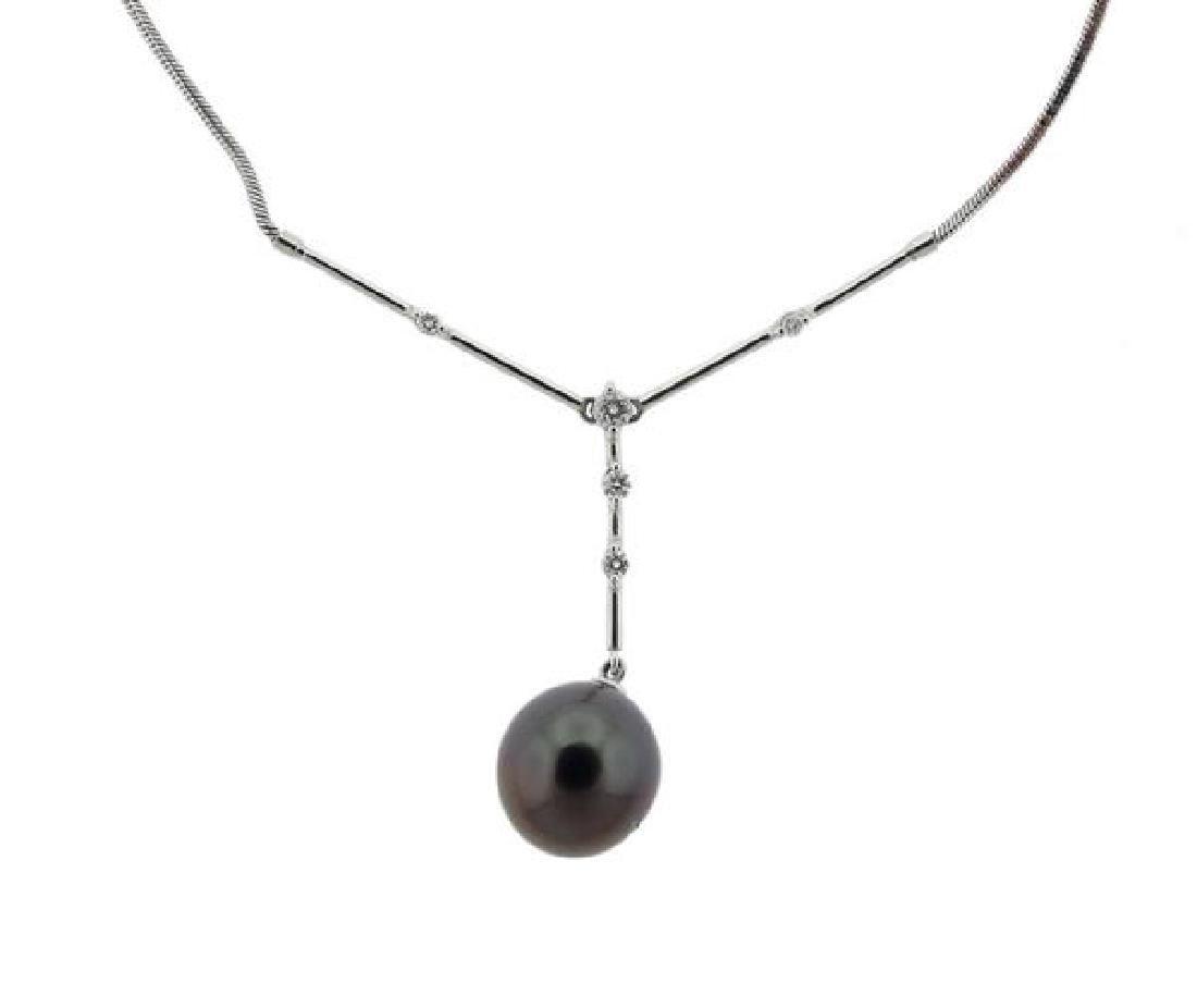 18k Gold Diamond Tahitian Pearl Earrings Necklace Set - 3