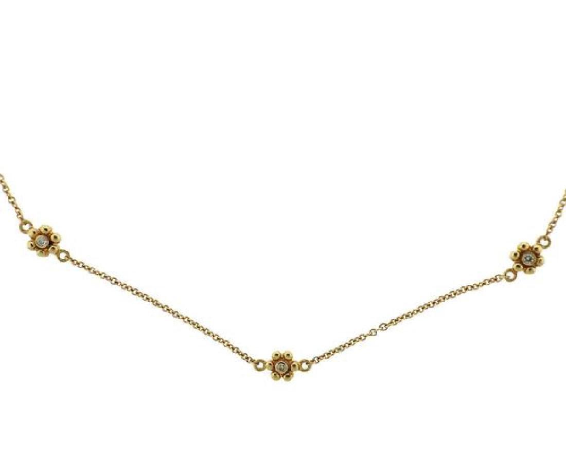 14k Gold Diamond Flower Station Necklace