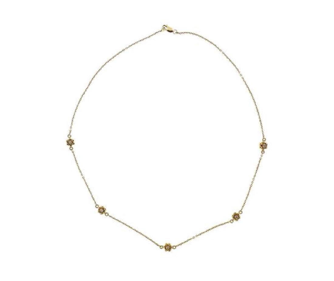 14k Gold Diamond Flower Station Necklace - 2