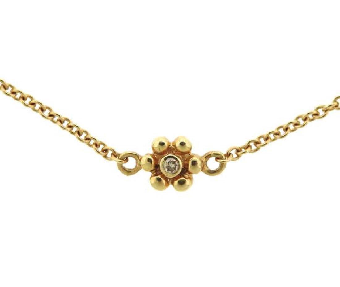 14k Gold Diamond Flower Station Necklace - 3