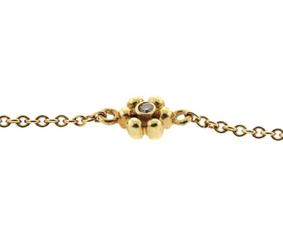 14k Gold Diamond Flower Station Necklace - 5