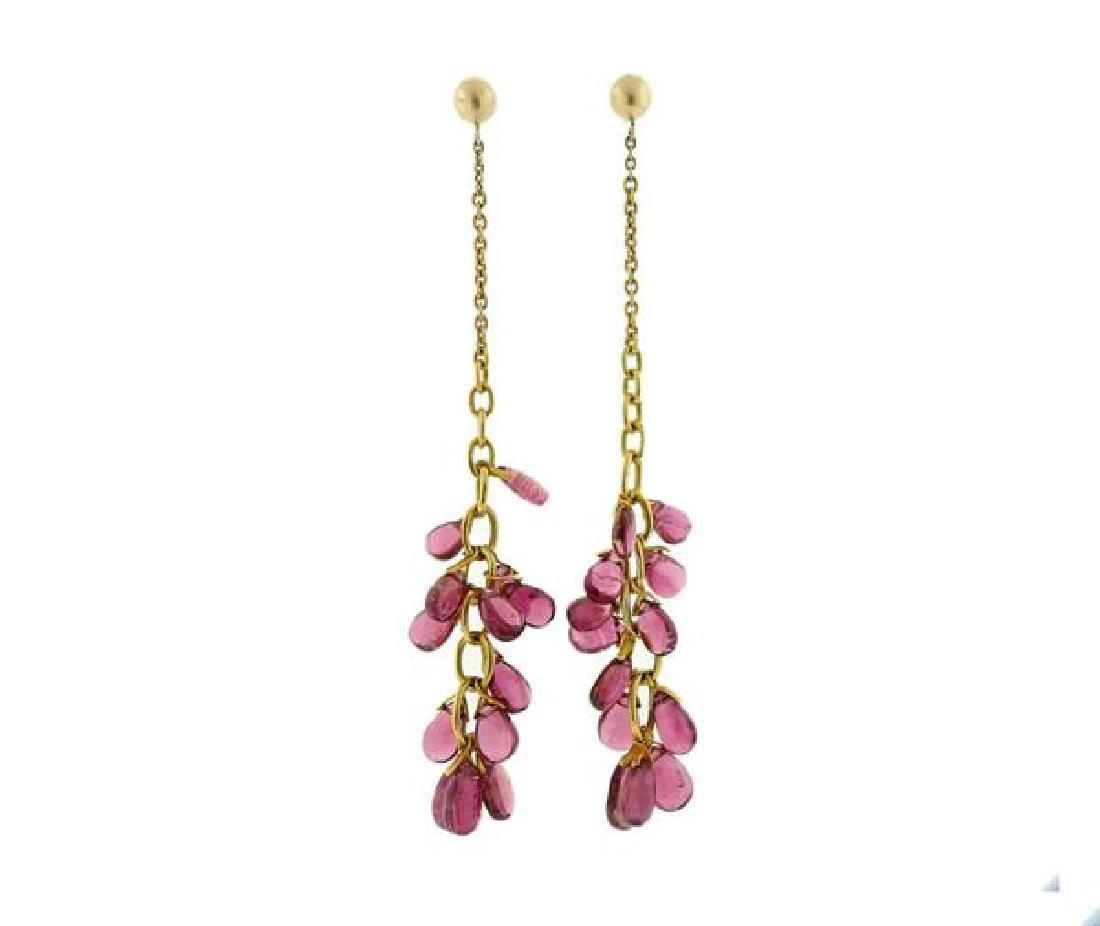 14k Gold Pink Tourmaline Long Earrings