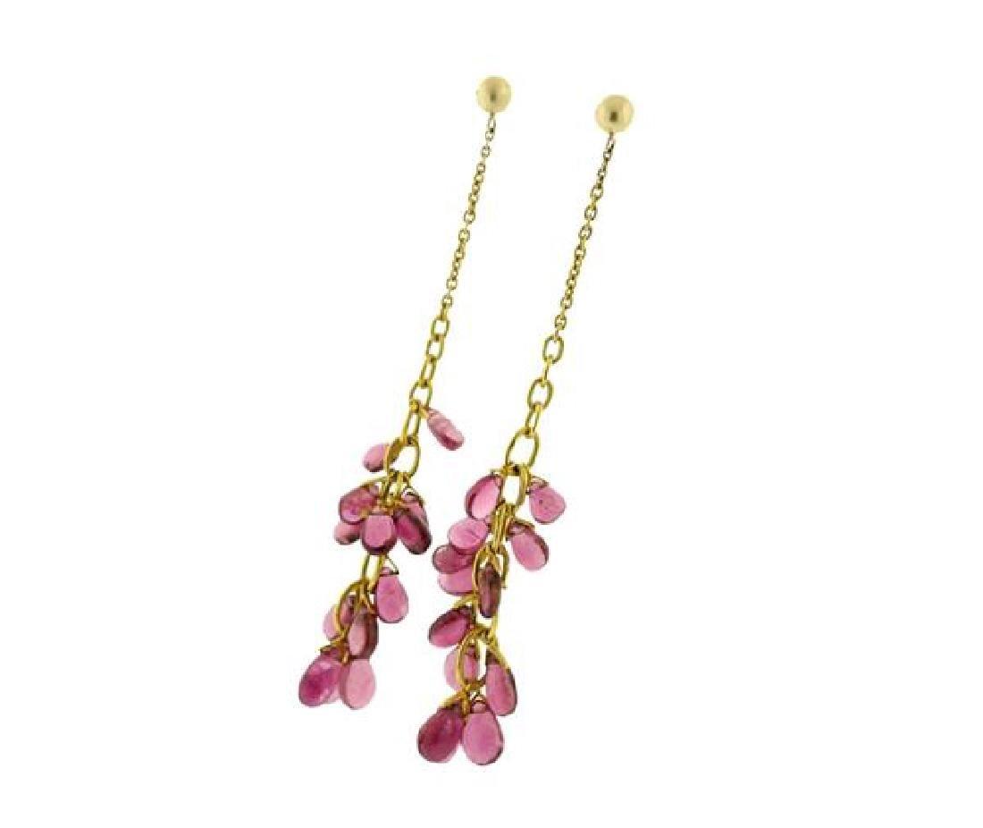 14k Gold Pink Tourmaline Long Earrings - 2