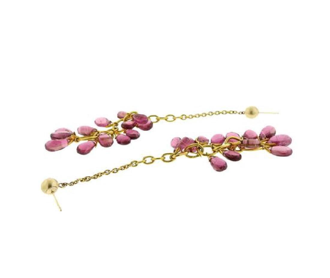 14k Gold Pink Tourmaline Long Earrings - 3