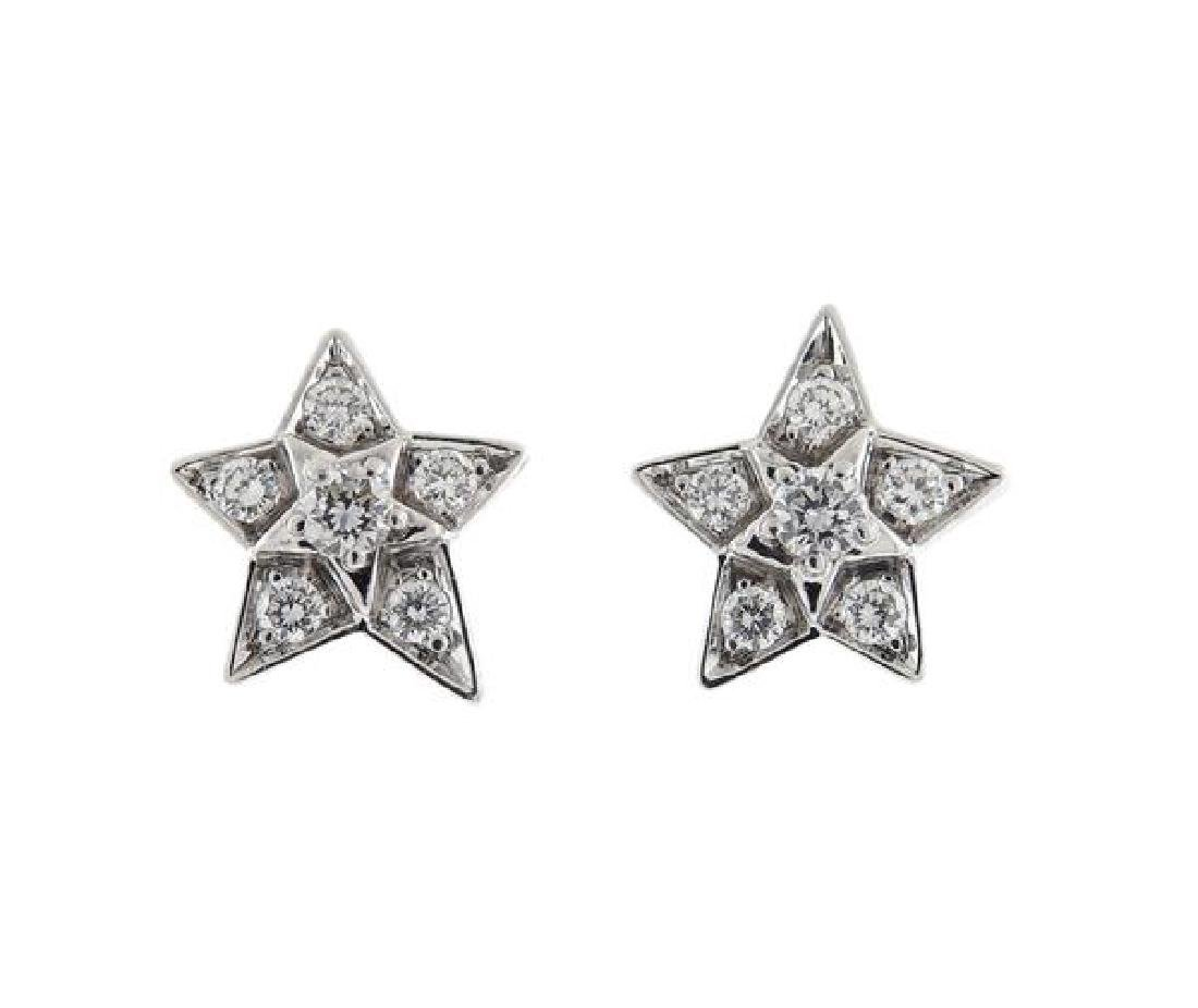 Chanel Comete Star 18k Gold Diamond Earrings
