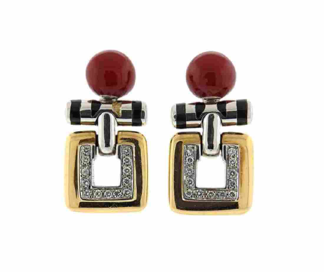 La Nouvelle Bague  18K Gold Diamond Enamel Earrings