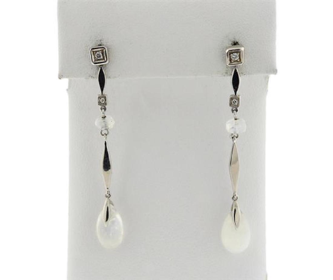 H. Stern 18K Gold Diamond Labrodorite Dangle Earrings