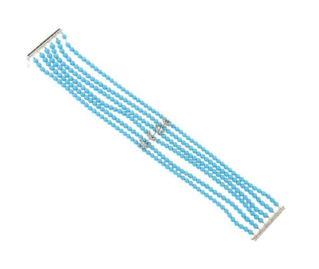 14k Gold Diamond Blue Stone Multi  Strand Bracelet
