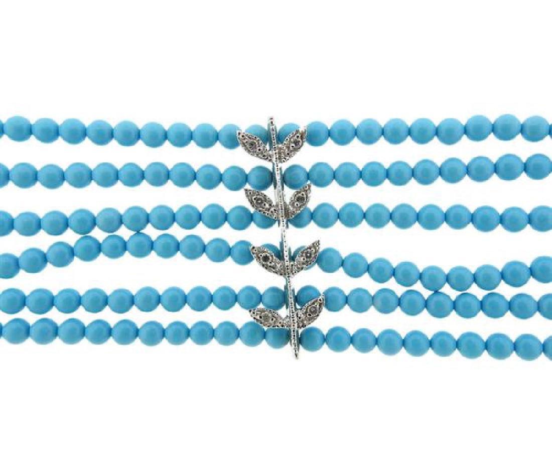 14k Gold Diamond Blue Stone Multi  Strand Bracelet - 2