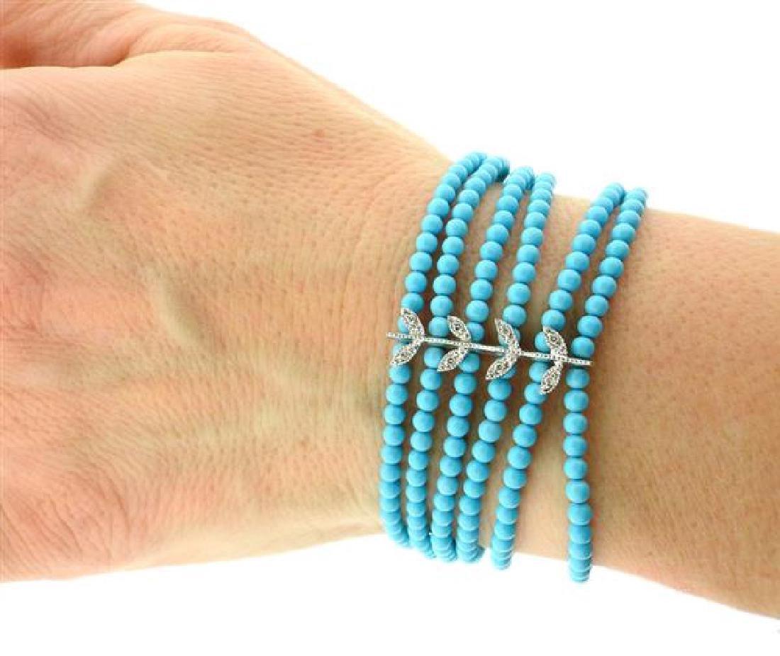 14k Gold Diamond Blue Stone Multi  Strand Bracelet - 3