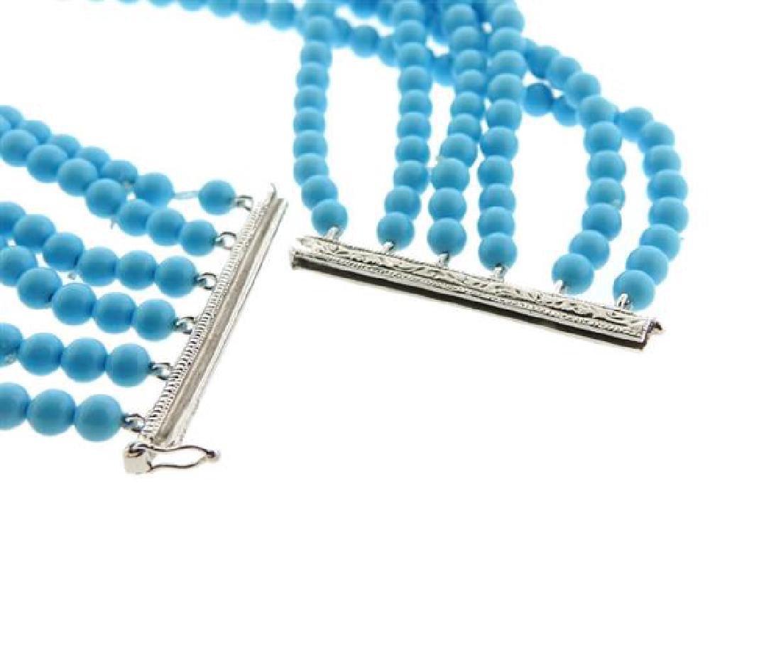 14k Gold Diamond Blue Stone Multi  Strand Bracelet - 4