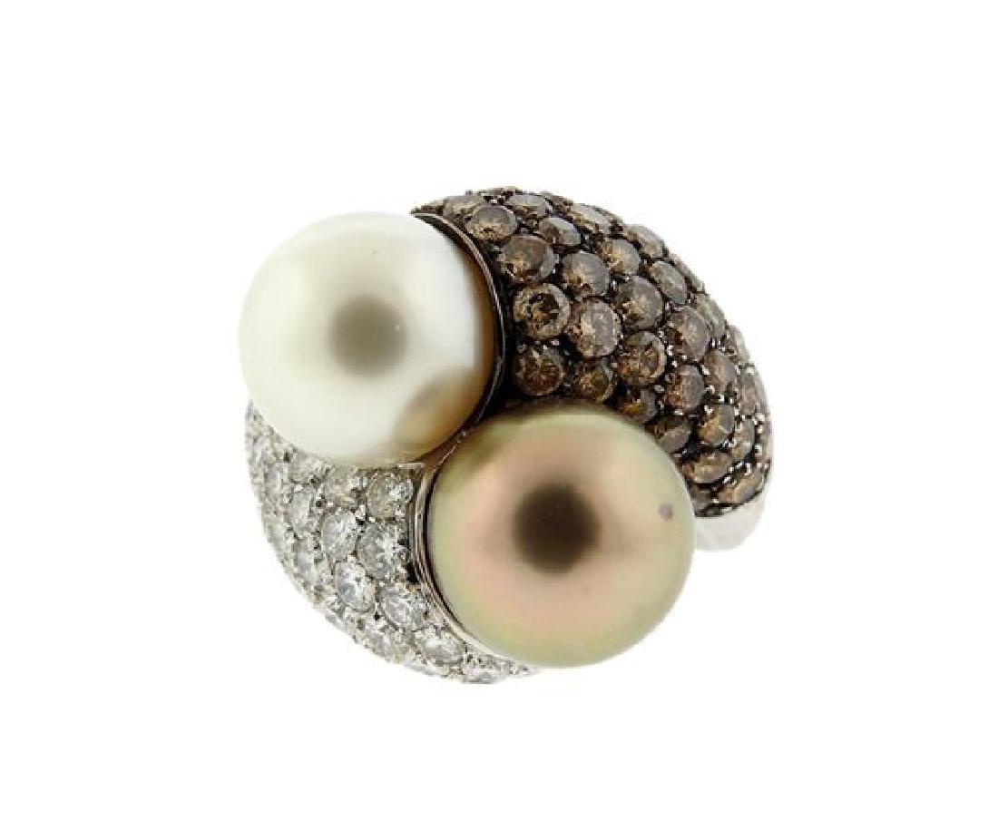 18K Gold Diamond South Sea Pearl Bypass  Ring
