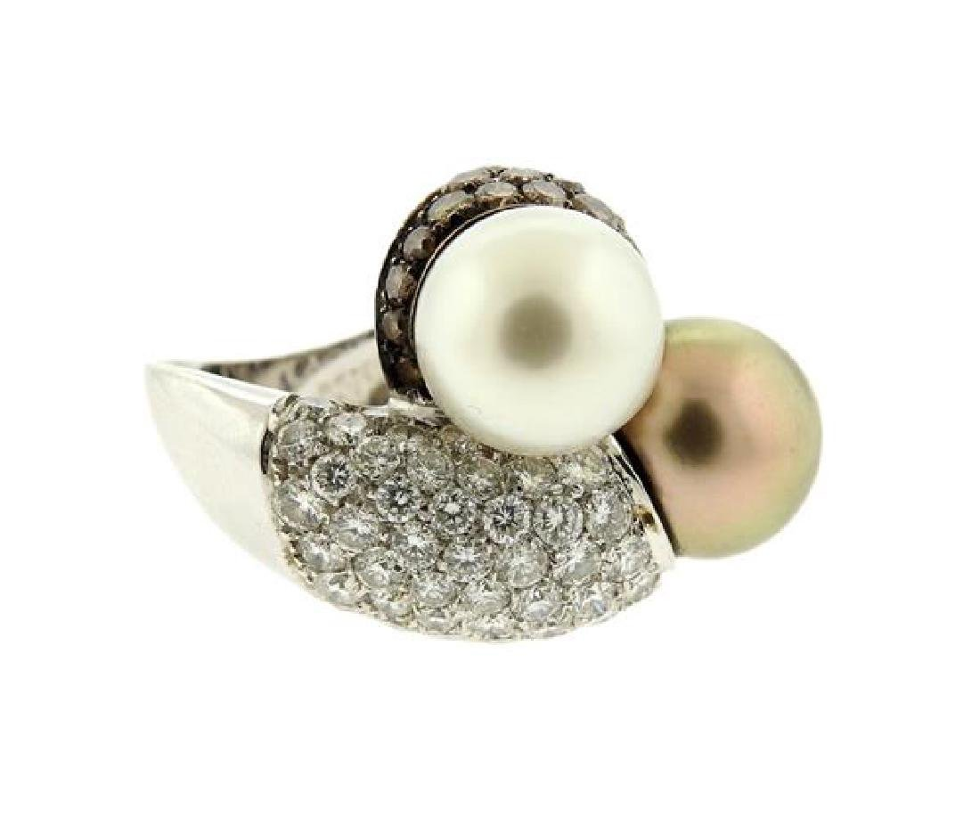 18K Gold Diamond South Sea Pearl Bypass  Ring - 2