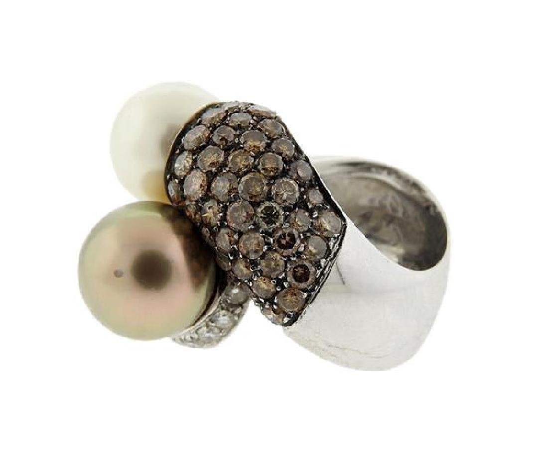 18K Gold Diamond South Sea Pearl Bypass  Ring - 3
