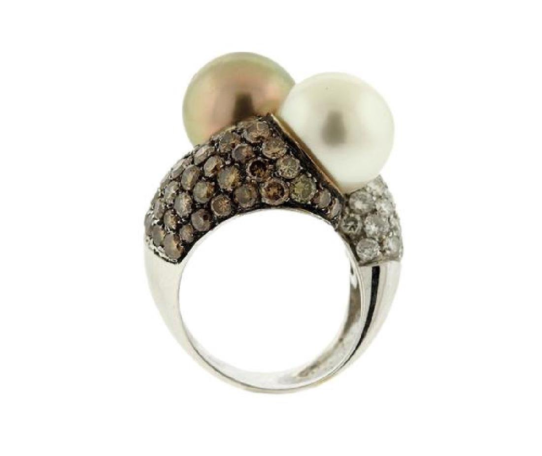 18K Gold Diamond South Sea Pearl Bypass  Ring - 5