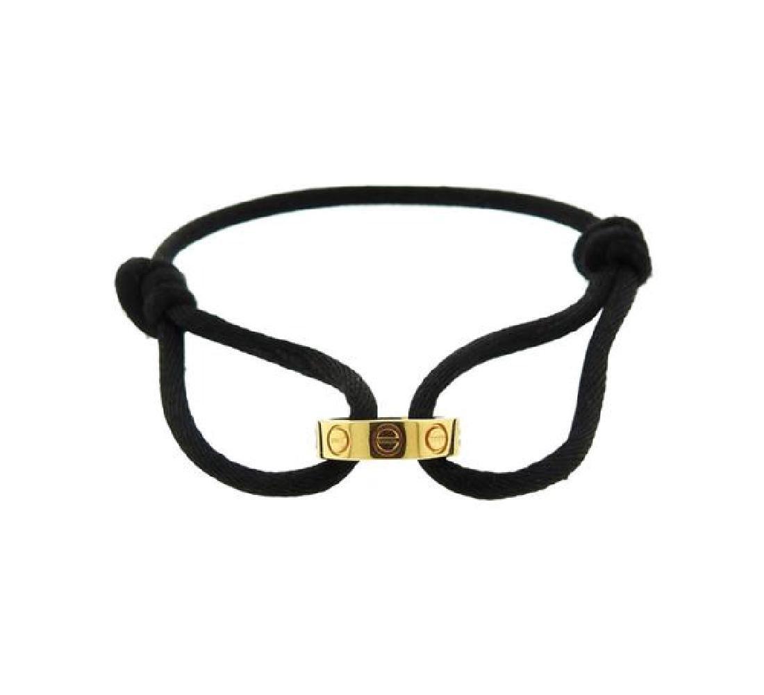 Cartier Love 18k Gold Black Cord Bracelet