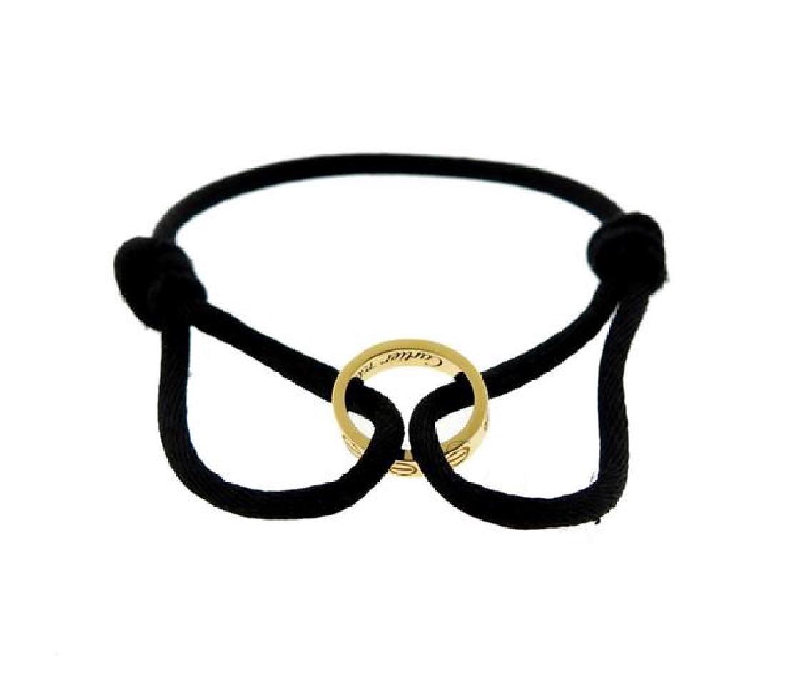Cartier Love 18k Gold Black Cord Bracelet - 2