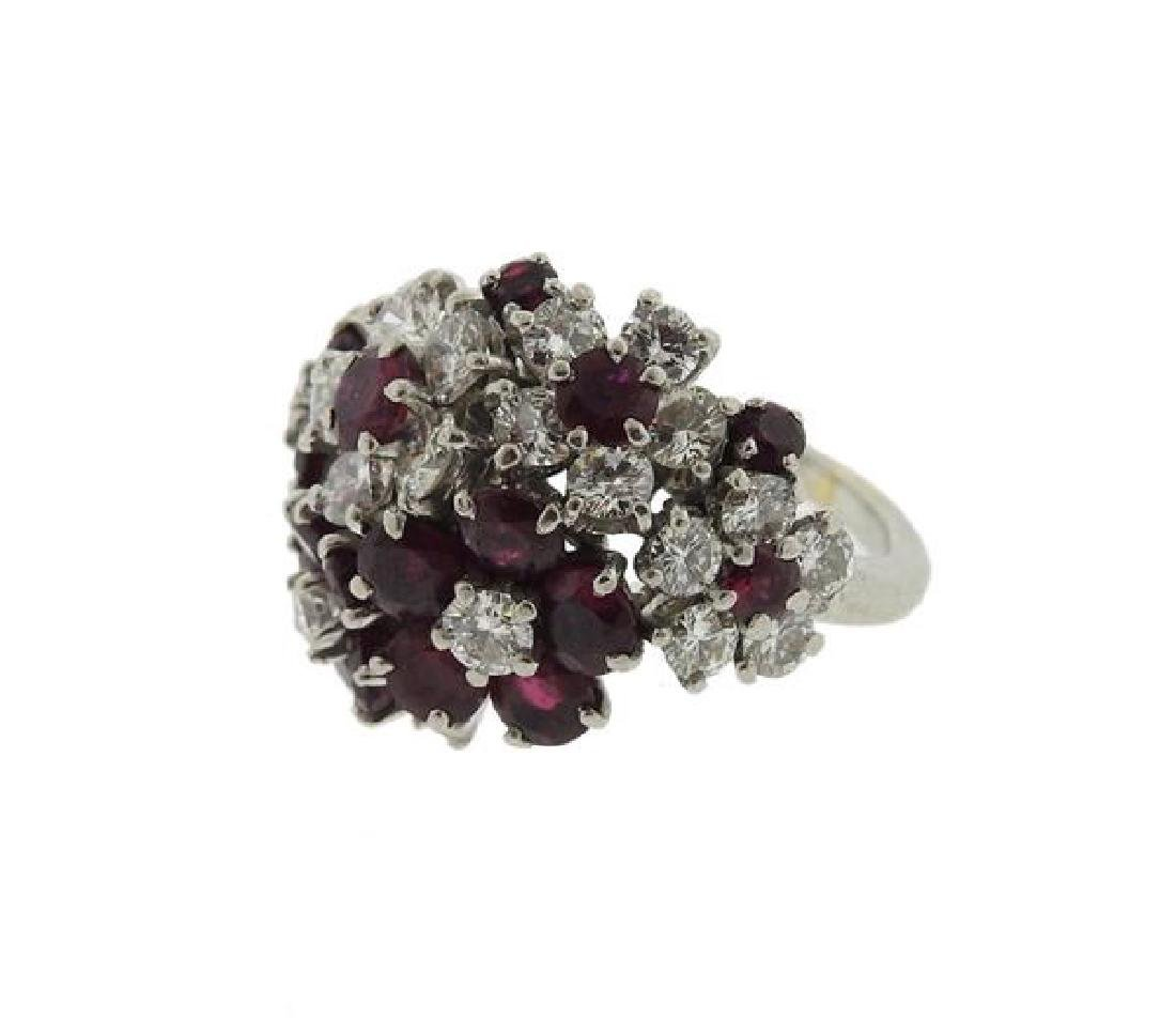 Platinum Diamond Red Stone Flower Motif Ring - 2