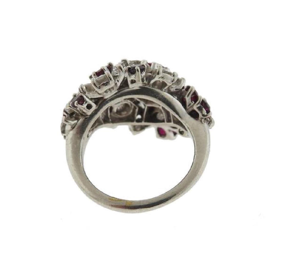 Platinum Diamond Red Stone Flower Motif Ring - 3