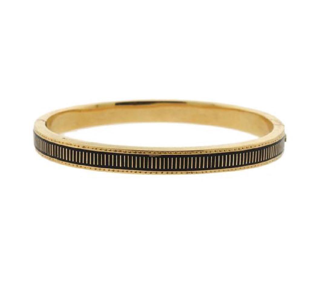 Antique 14K Gold Enamel Bangle Bracelet