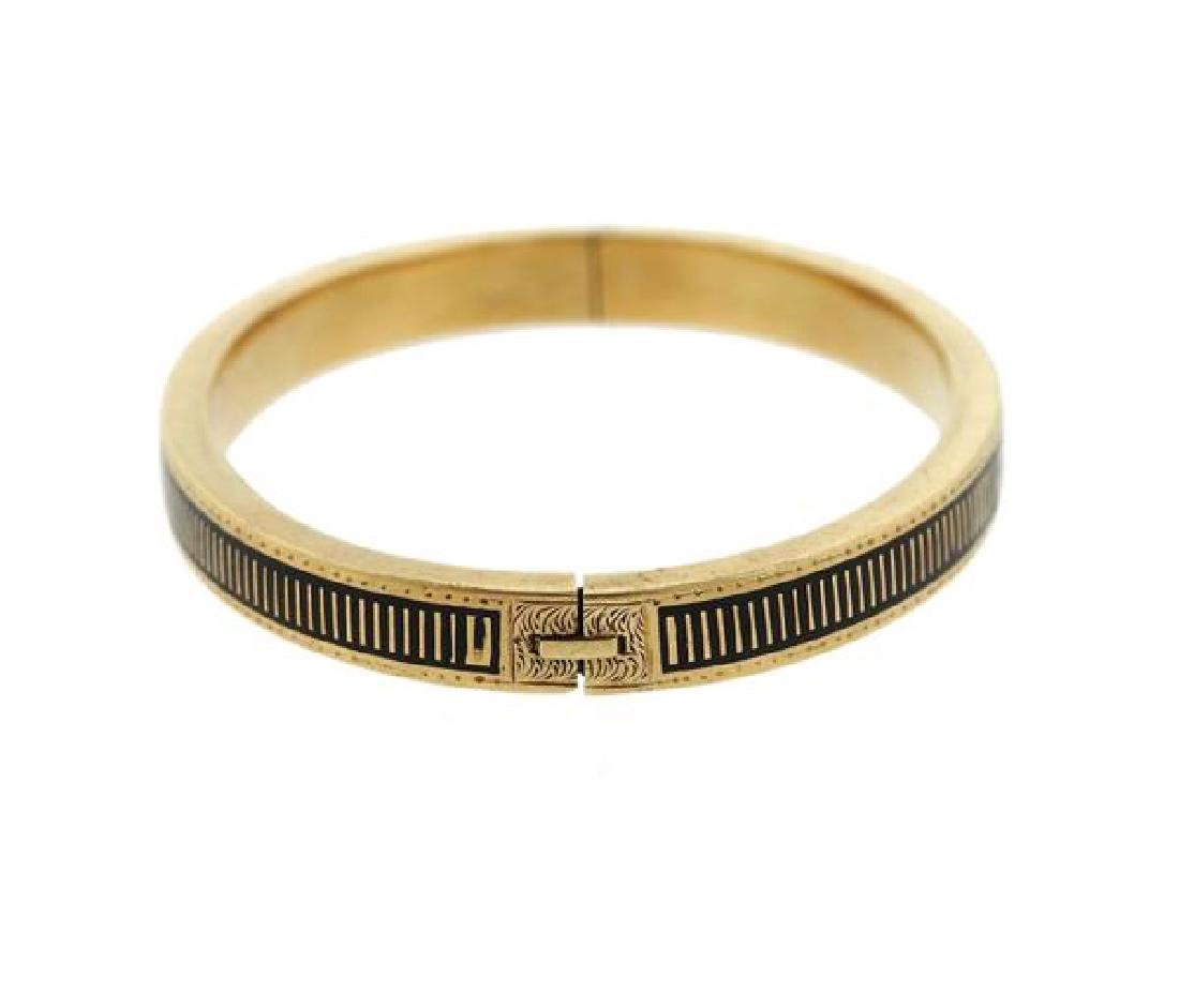 Antique 14K Gold Enamel Bangle Bracelet - 2