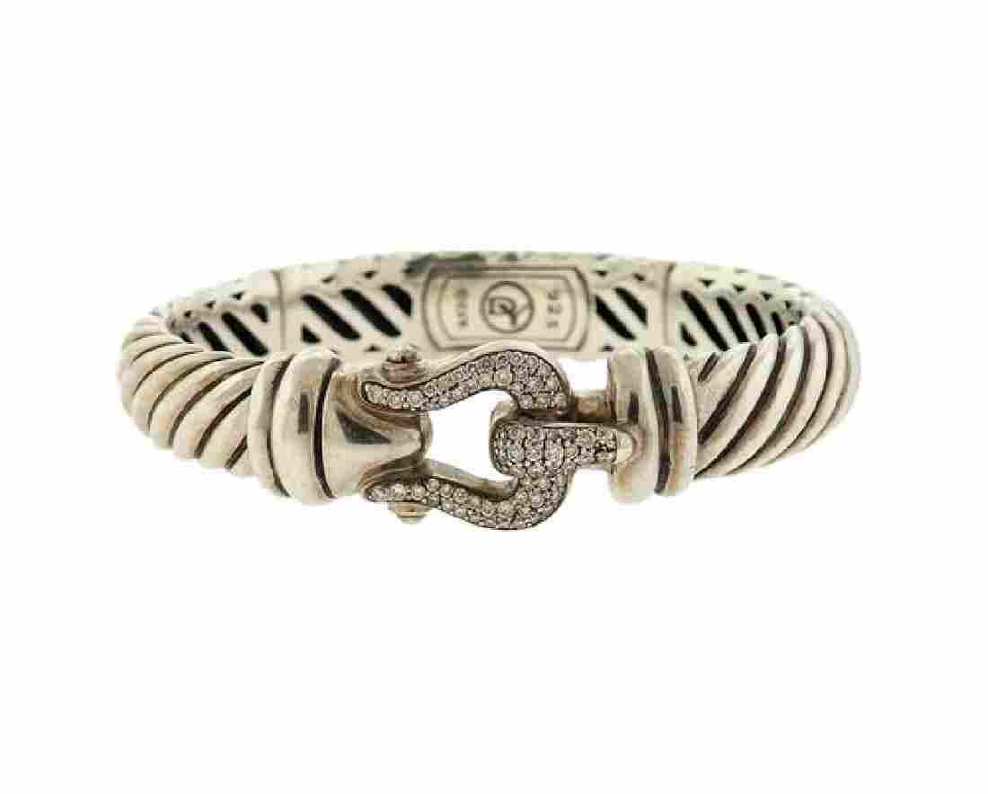 David Yurman Sterling Diamond Cable Buckle Bracelet