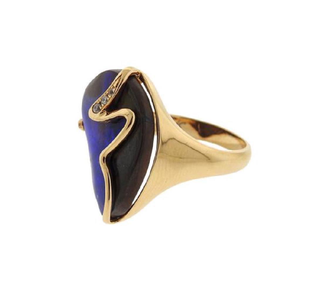 18K Gold Diamond Opal Ring - 2