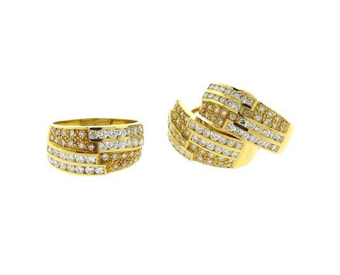 18K Gold Diamond Band Ring Half Hoop Earrings Set