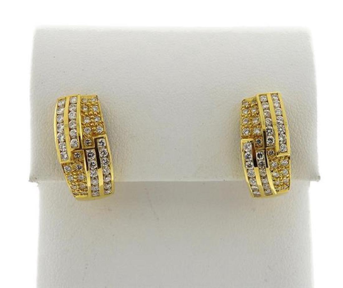 18K Gold Diamond Band Ring Half Hoop Earrings Set - 2