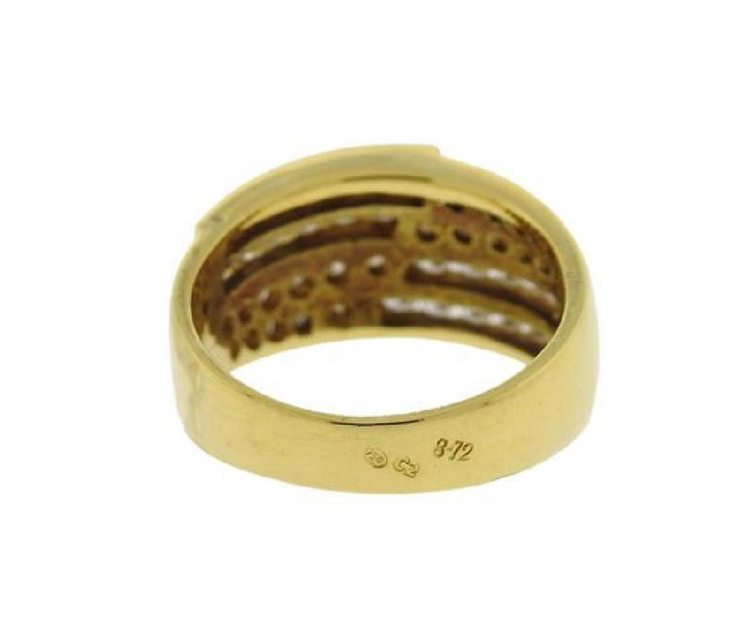 18K Gold Diamond Band Ring Half Hoop Earrings Set - 3