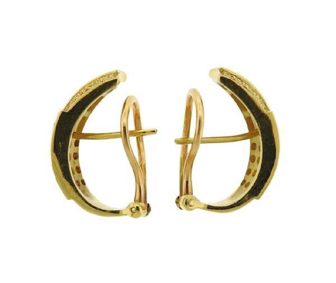 18K Gold Diamond Band Ring Half Hoop Earrings Set - 4