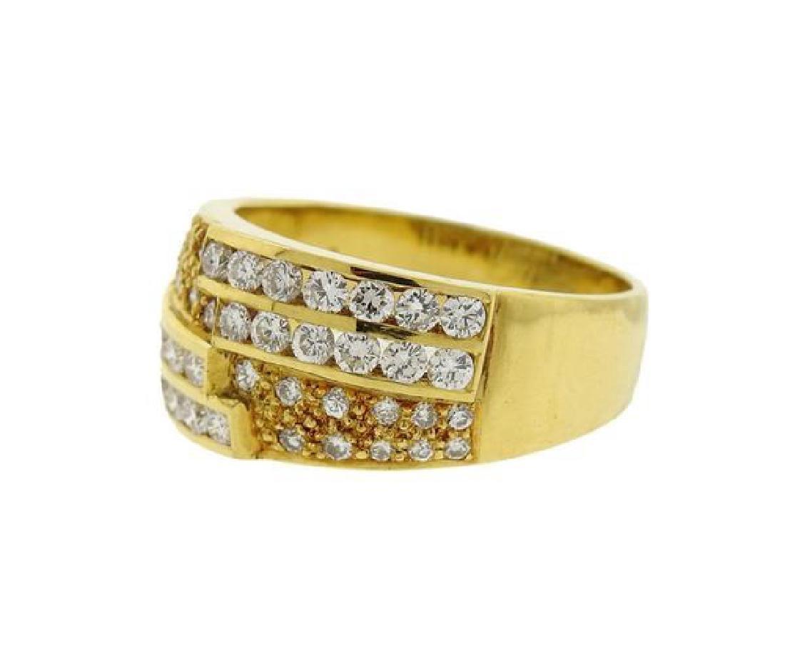 18K Gold Diamond Band Ring Half Hoop Earrings Set - 5