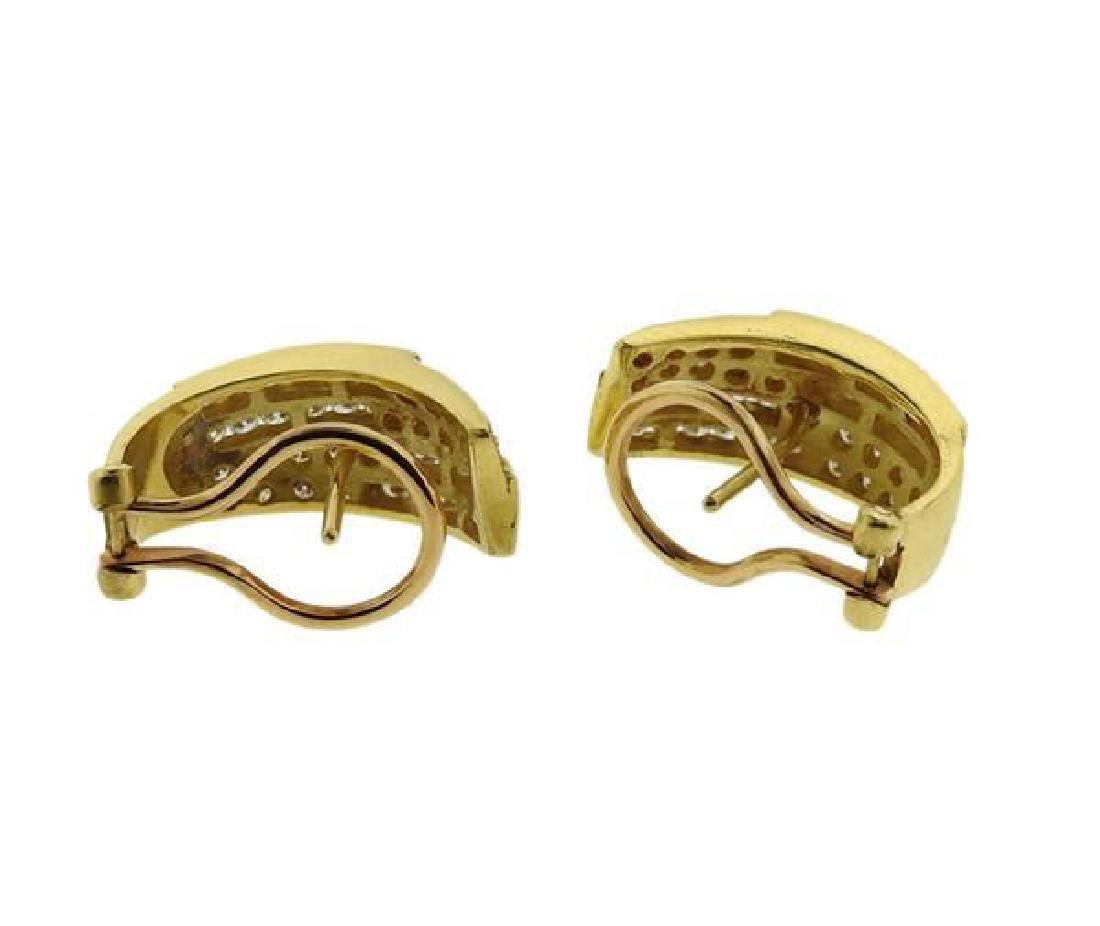 18K Gold Diamond Band Ring Half Hoop Earrings Set - 6