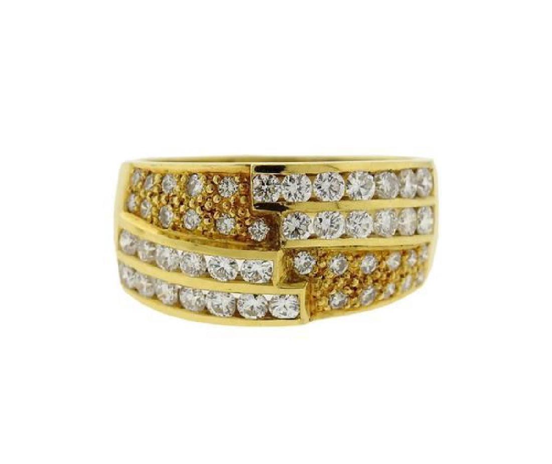 18K Gold Diamond Band Ring Half Hoop Earrings Set - 7