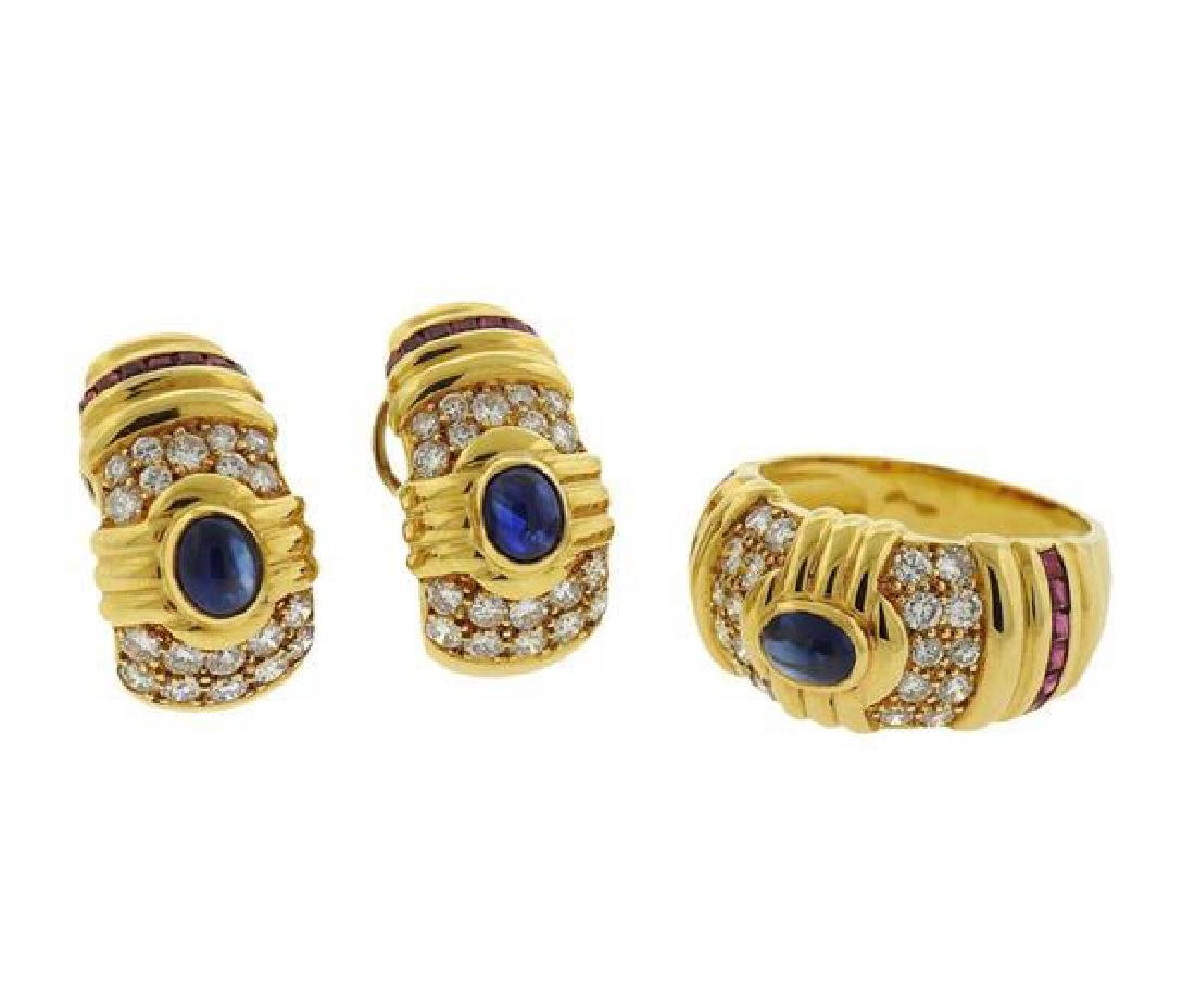 18K Gold Diamond Ruby Sapphire Earrings Ring Set