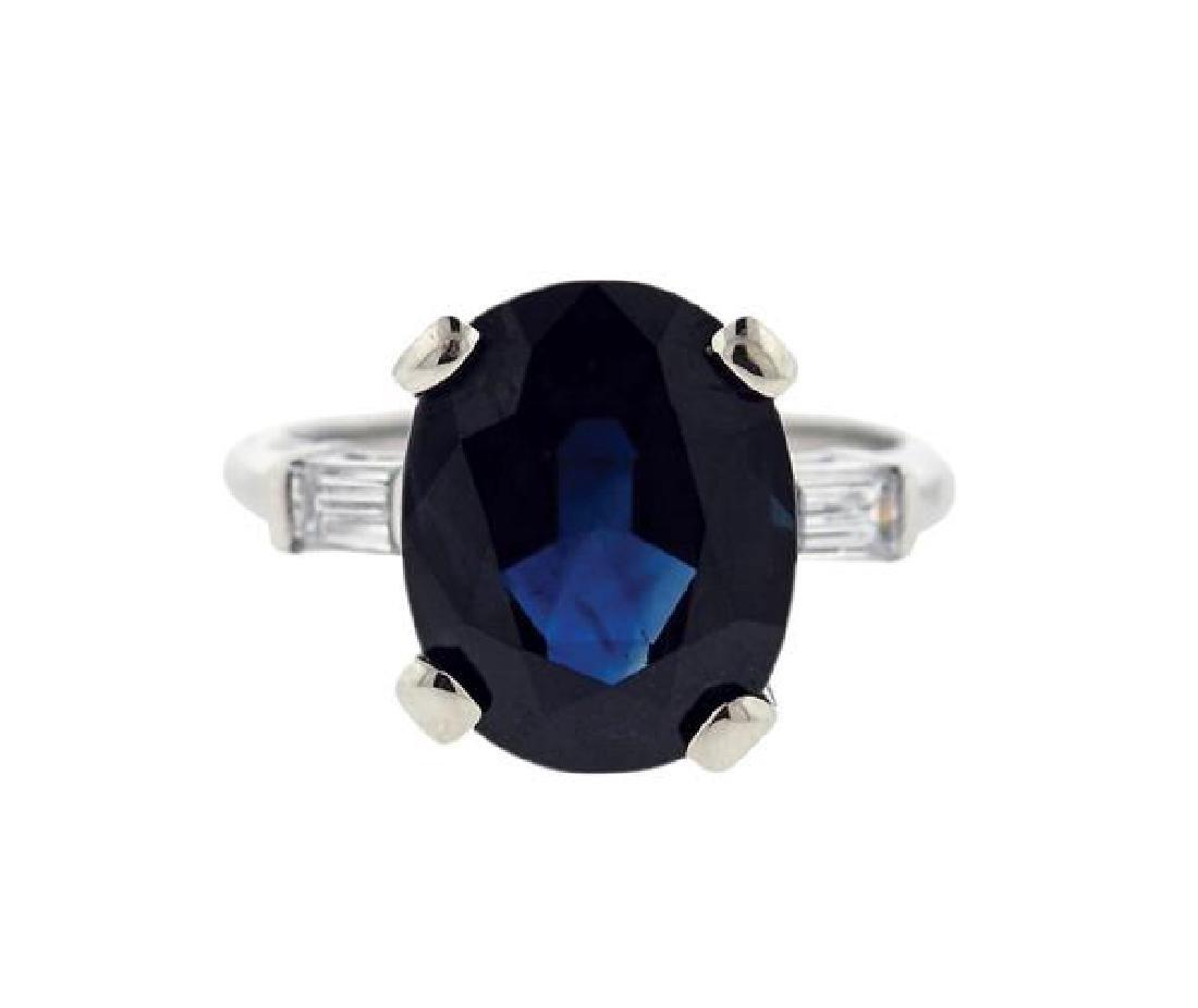 GIA 7.41ct Natural Sapphire Platinum Diamond Ring