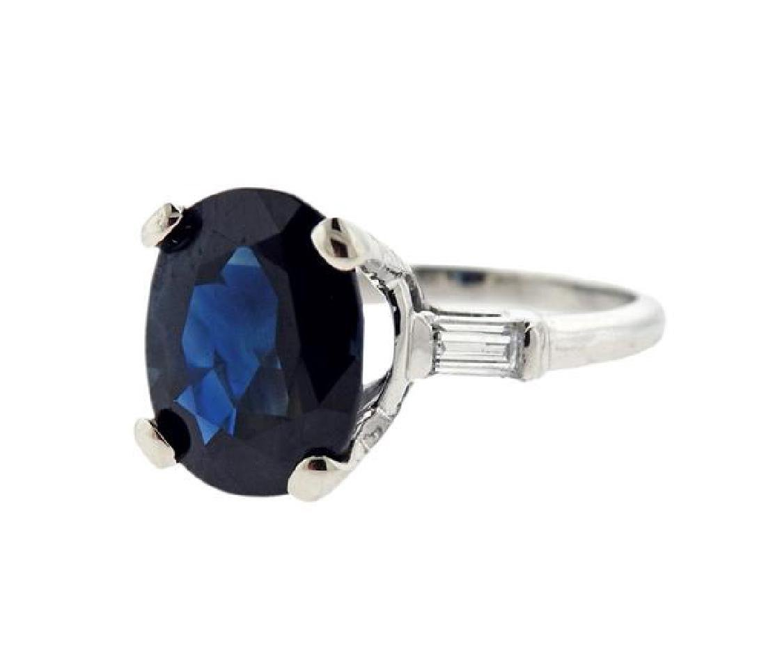 GIA 7.41ct Natural Sapphire Platinum Diamond Ring - 2