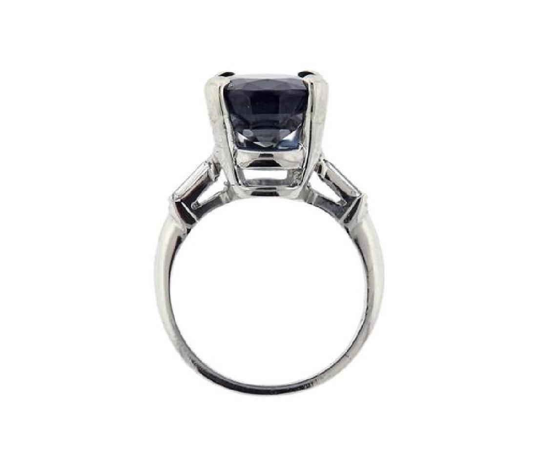 GIA 7.41ct Natural Sapphire Platinum Diamond Ring - 3