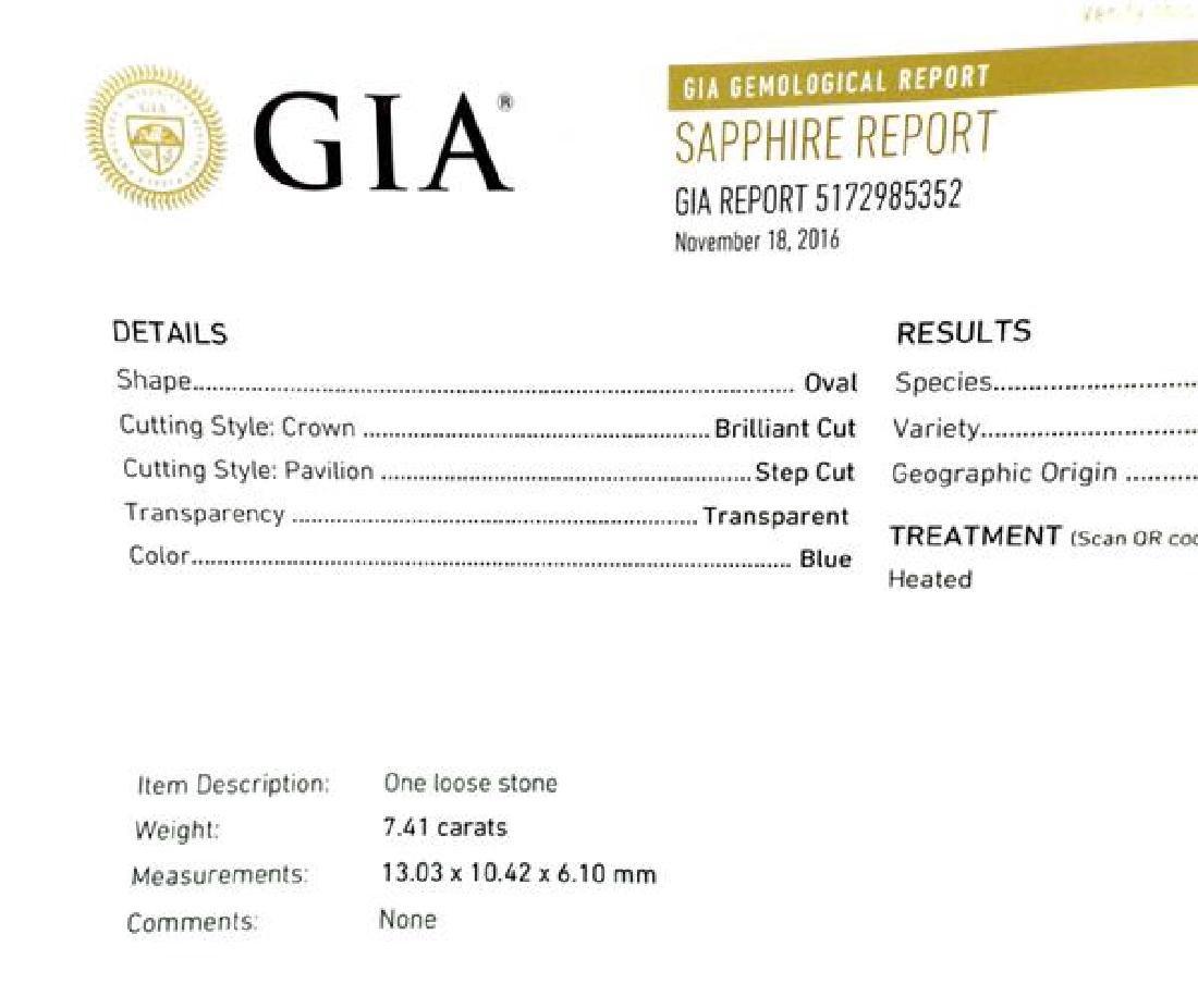 GIA 7.41ct Natural Sapphire Platinum Diamond Ring - 4