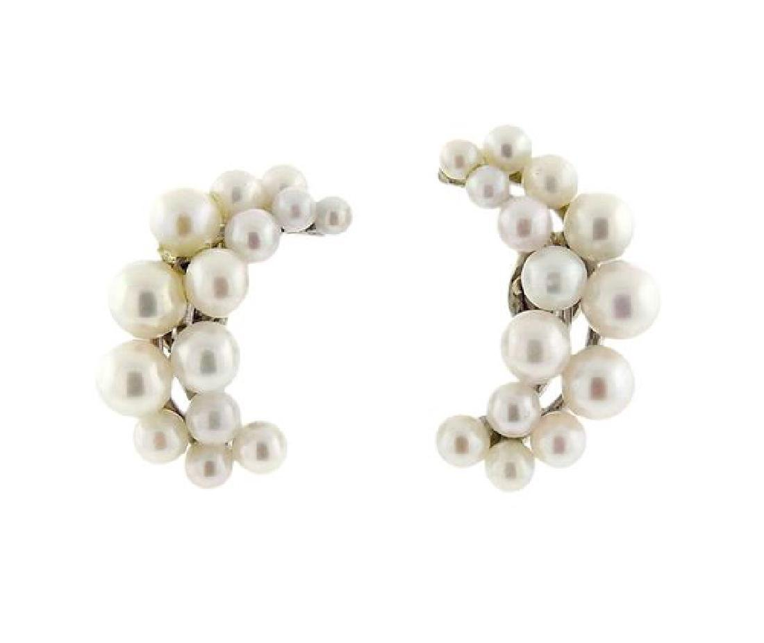 14k Gold Pearl Half Moon Earrings