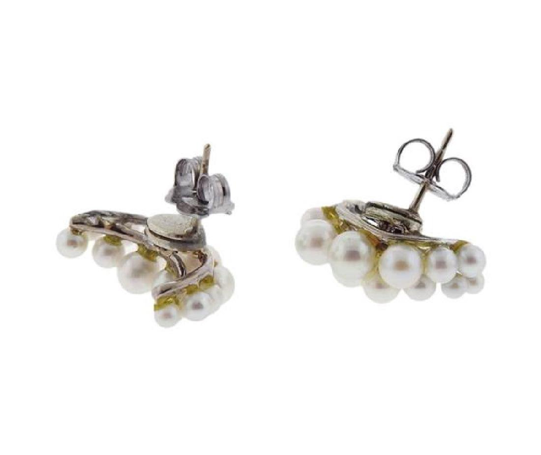 14k Gold Pearl Half Moon Earrings - 2