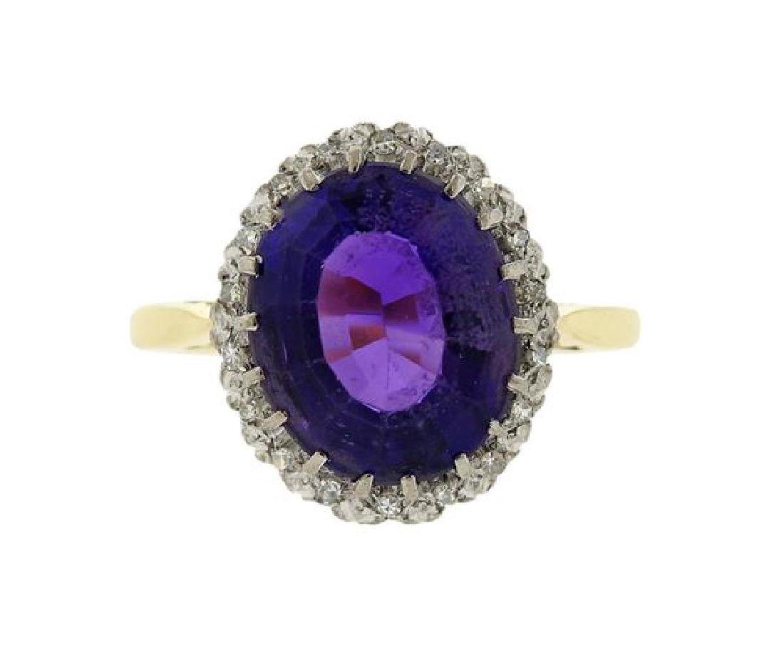 18k Gold Diamond Amethyst Ring