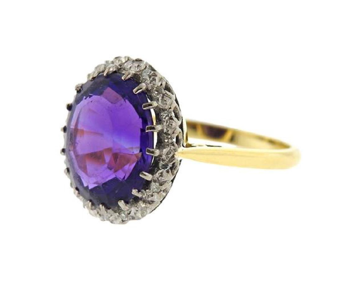 18k Gold Diamond Amethyst Ring - 2