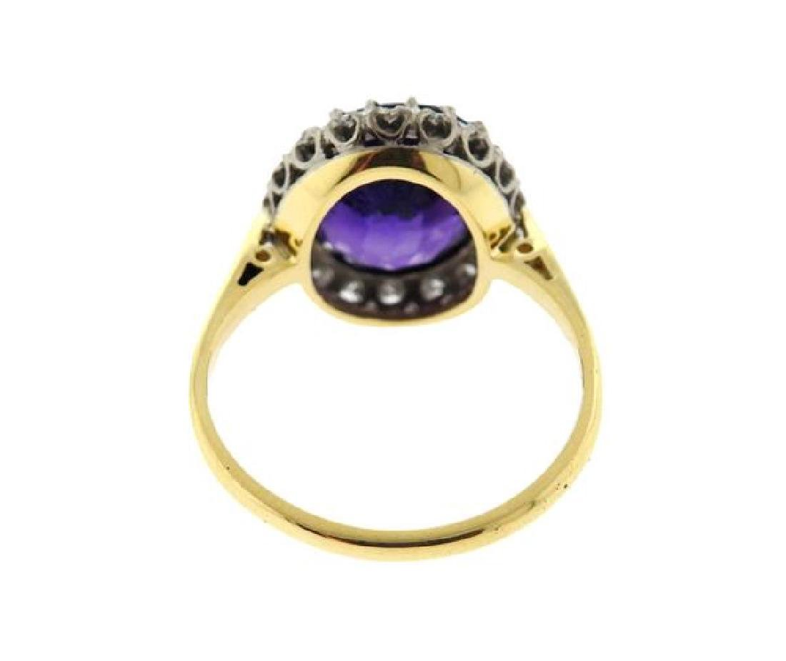 18k Gold Diamond Amethyst Ring - 3