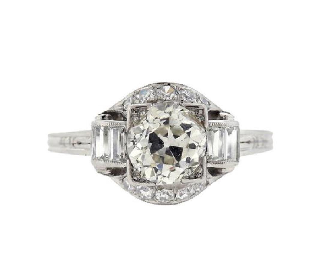 Art Deco Platinum 1.30ct Diamond Engagement Ring