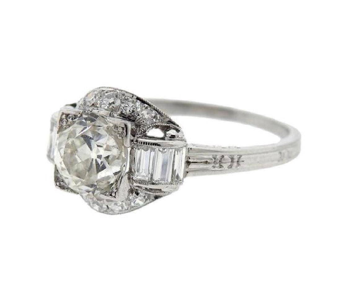 Art Deco Platinum 1.30ct Diamond Engagement Ring - 2