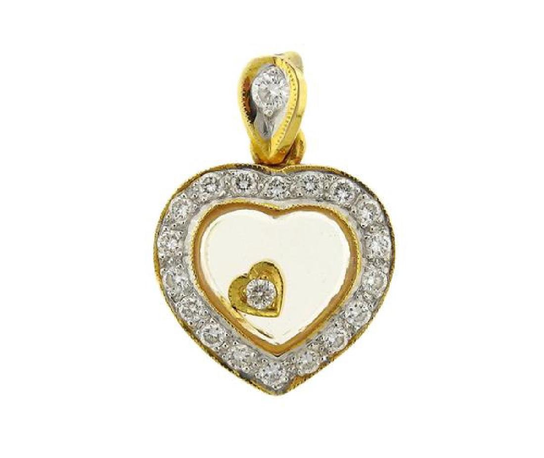 18k Gold Floating Diamond Heart Pendant