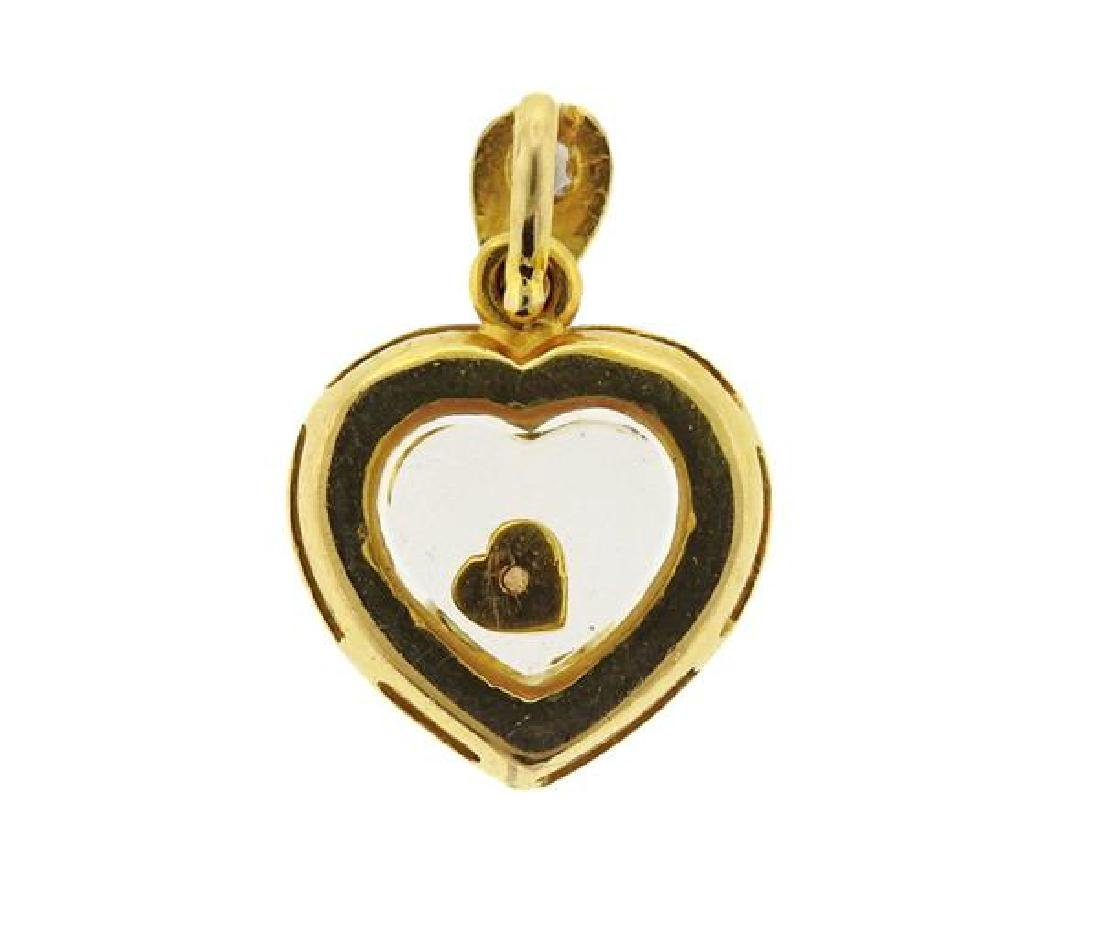 18k Gold Floating Diamond Heart Pendant - 3