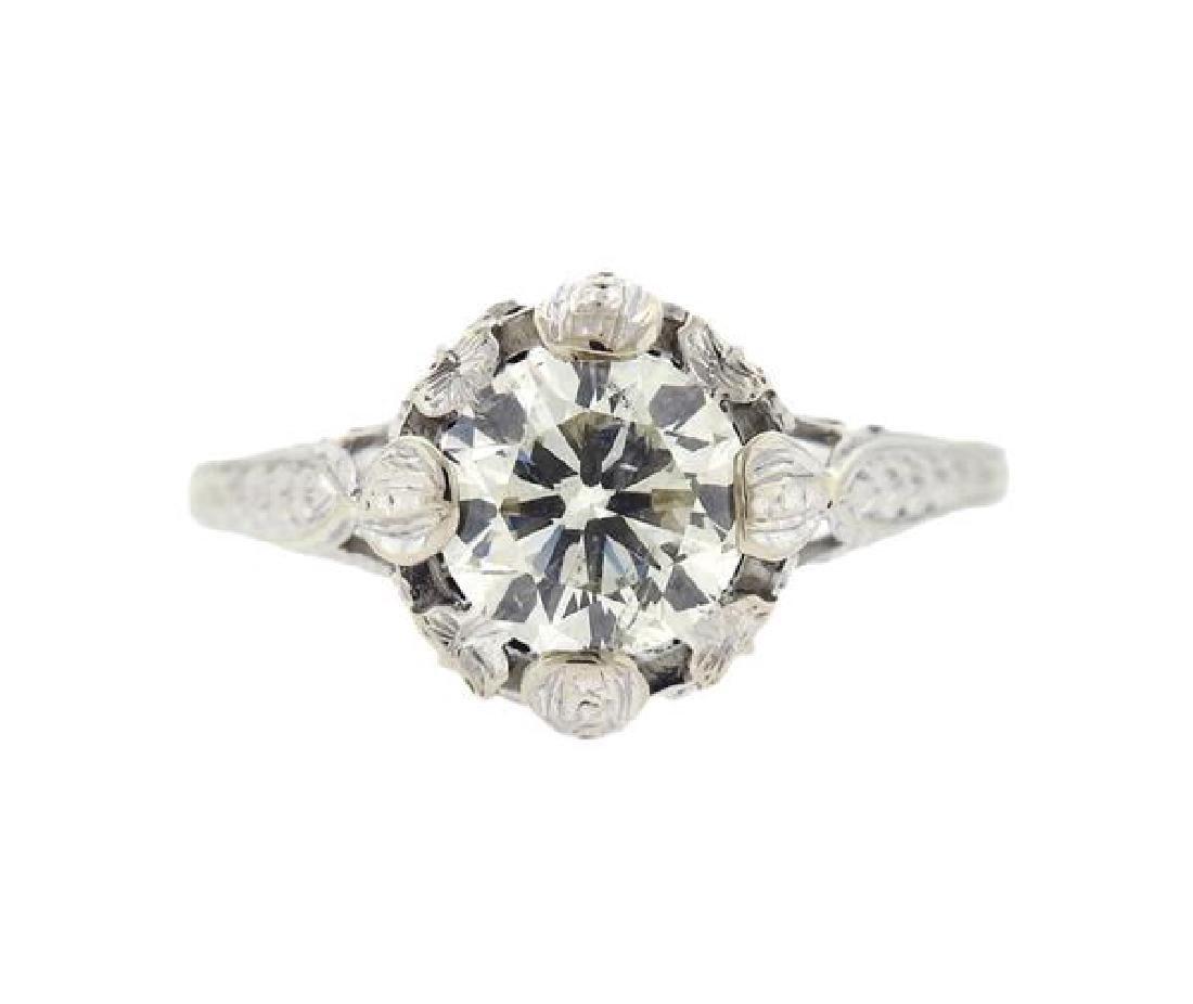 Art Deco Platinum 1.60ct Engagement Diamond Ring
