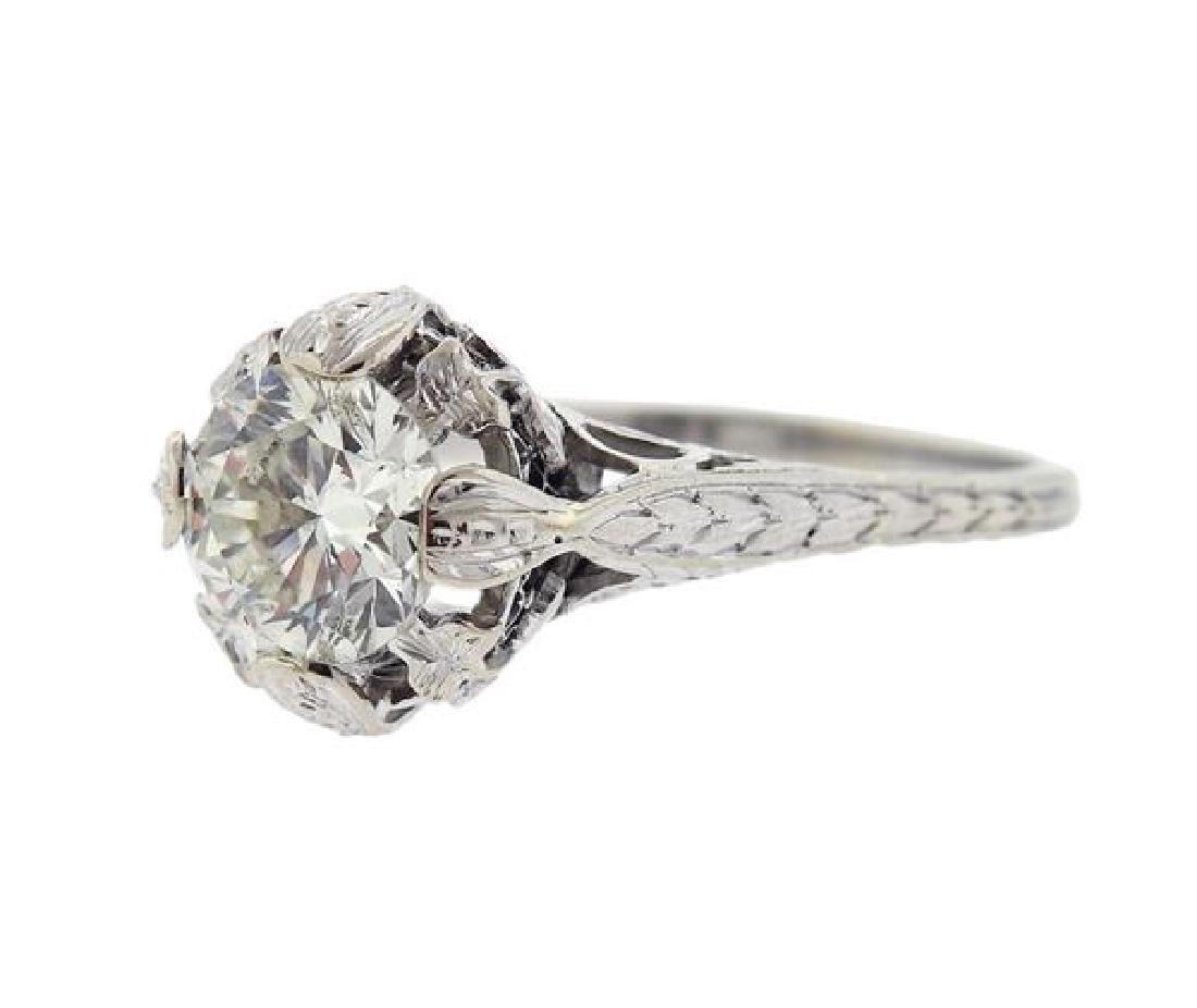 Art Deco Platinum 1.60ct Engagement Diamond Ring - 2
